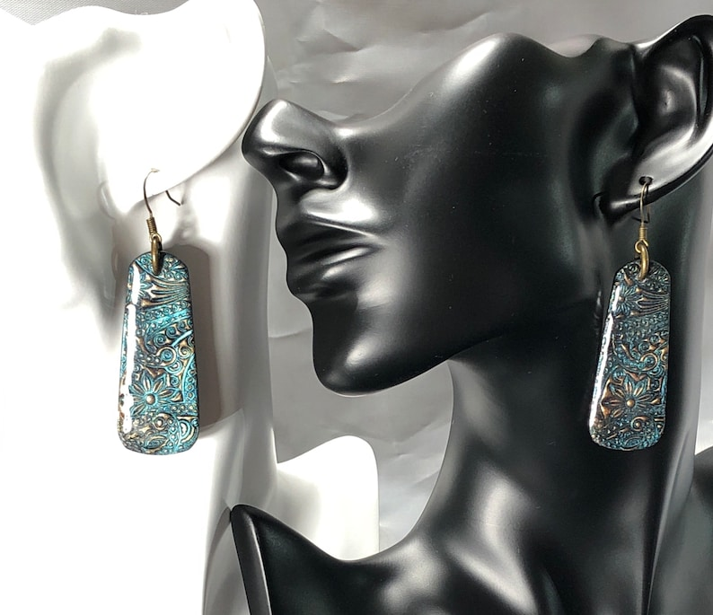 Bronze Blue Patina Polymer Clay and UV Resin Earrings with Antique Bronze Fish Hook Ear wires