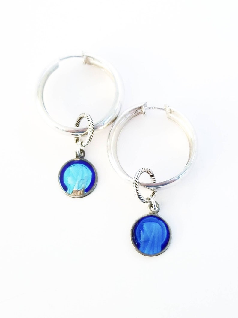 18bf195b4 Vintage sterling silver hoop earrings with blue enamel | Etsy