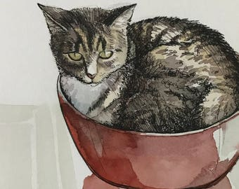 Commission an 8x10 Pet Portrait by Jamie Peterson. Ink and Watercolor Painting.
