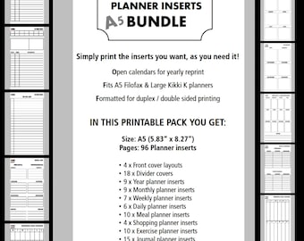 A5 Planner Inserts Bundle / Year, Month, Weekly, Daily, Meals, Shopping, Exercise, Journal, Budget / Open Calendar / Filofax & Kikki K