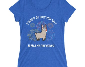 4th of July Alpaca Ladies' short sleeve t-shirt - alpaca - alpaca shirt - 4th of july shirt - 4th of july - fourth of july - usa shirt