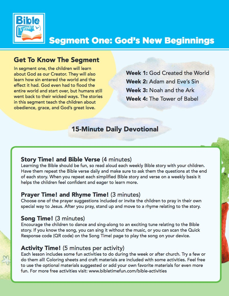 Bible Time Digital Bible Lesson ~ 4 Great Stories ~ Creation, Adam and Eve,  Noah's Ark, and The Tower of Babel ~ Activities, Songs and More