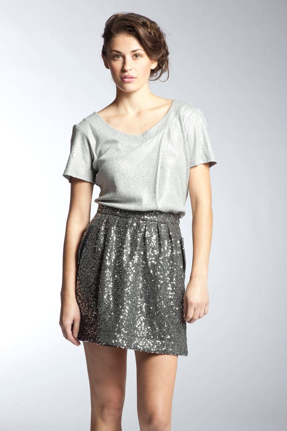 cheaper presenting buy cheap Women's Silver Sequin Skirt With Pockets | Etsy