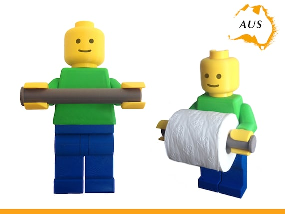 Lego Man Toilet Roll Holder Dispenser Bathroom Decor Hook Hanger Tissue Rack
