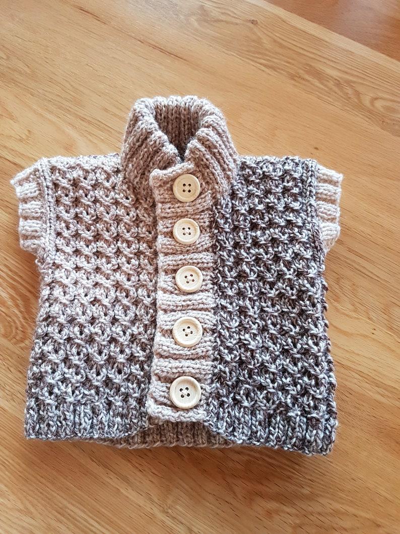 0-3 months Brown  Beige Hand Knitted Woollen Baby Gilet