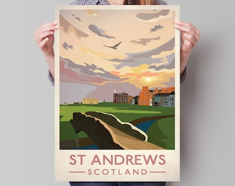 St Andrews Golf Club Poster, St Andrews - Old Course Golf Club 18th Hole, Travel Poster, Scottish Print , Golf Gift Art , Scotland