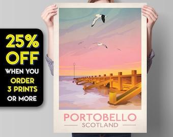 Portobello Poster, Vintage looking Portobello illustration,  Edinburgh Print, Scottish Art, Scottish Gifts, Vintage Scotland