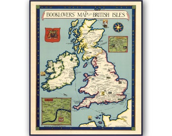 ATTRACTIVE 1852 MAP THE BRITISH ISLES BY VUILLEMIN VINTAGE FRAMED PRINT B12X2243