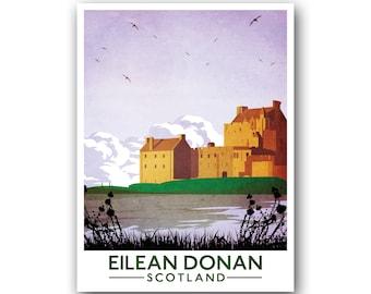 Eilean Donan, Scotland, Scottish Travel Poster, vintage style railway travel poster art of Scotland, castle art, Scottish Castle, Wall Art