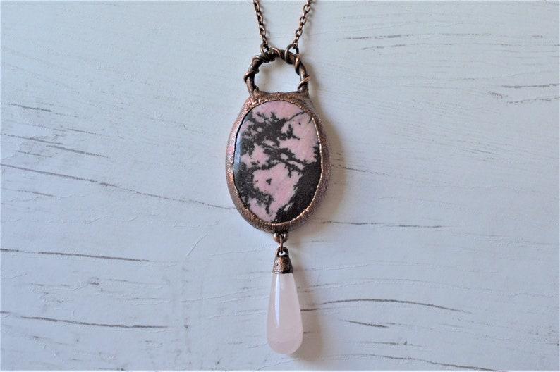 Quartz Jewelry Rectangular Silver Pendant- Rose Quartz Necklace gift for Woman Pink Pendant Rose quartz pendant gift for grandma
