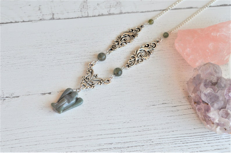 gifts for her Moss agate necklace gift ideas gemstone necklace angel necklace boho necklace crystal necklace