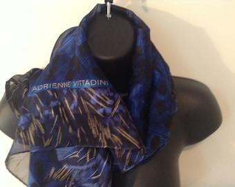 "VINTAGE  ADRIENNE VITTADINI Women's Scarf-Blue Striped Print-100% Sillk-36"" Square"