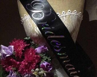 Personalised Bridesmaids sash, glittery sash, HenParty sash, Bachelorette Party Sash Wedding