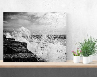Black and White Metal Ocean Splash Photo