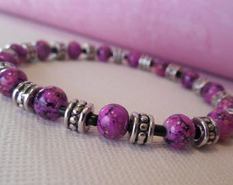 Pink and Purple Abstract Beaded Stretch Bracelet with Silver and Black Accents