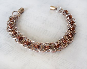 Celtic Knot Style Chainmaille Bracelet in Champagne and 'Bronze' Color