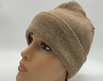 Alpaca Cuffed Hat with Fleece Lining