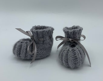 100% Alpaca Newborn Baby Booties with Satin Ribbon