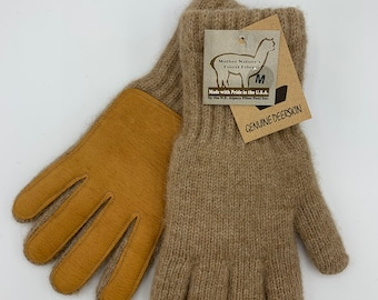 Alpaca Gloves with Deerskin Leather Palm
