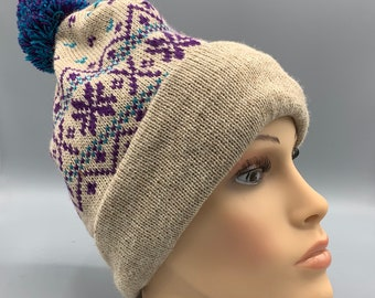Alpaca Hat with Blue PomPom