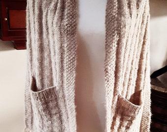 Handspun 100% Alpaca Knit Pocket Scarf