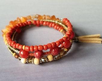 Coral + wood beaded wrap bracelet, memory wire bracelet, orange bracelet, quartzite, chunky bracelet, gemstone bracelet, ooak, boho, earthy