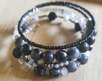 Black + White beaded wrap bracelet, memory wire bracelet, black bracelet, laboradite, lava, chunky bracelet, gems, ooak, boho, b&w, diffuser