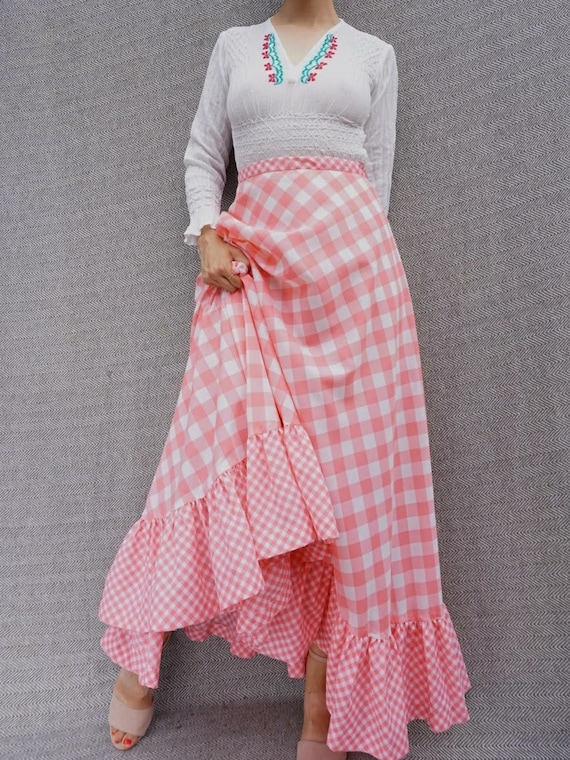 Vintage 1970s Cotton Maxi Skirt in Pink Gingham