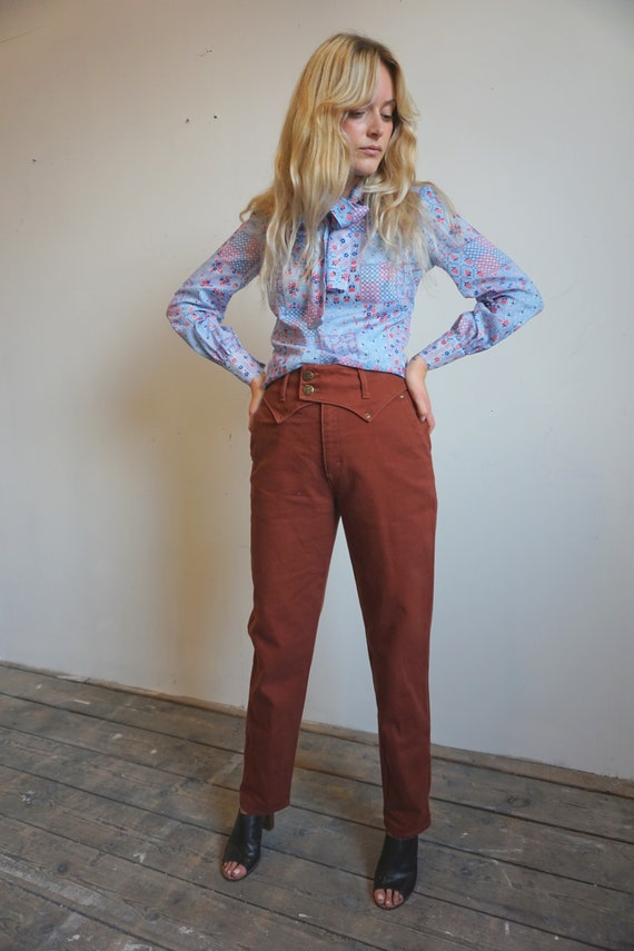 Vintage 1970's Patchwork Pussy Bow Blouse in Cotto