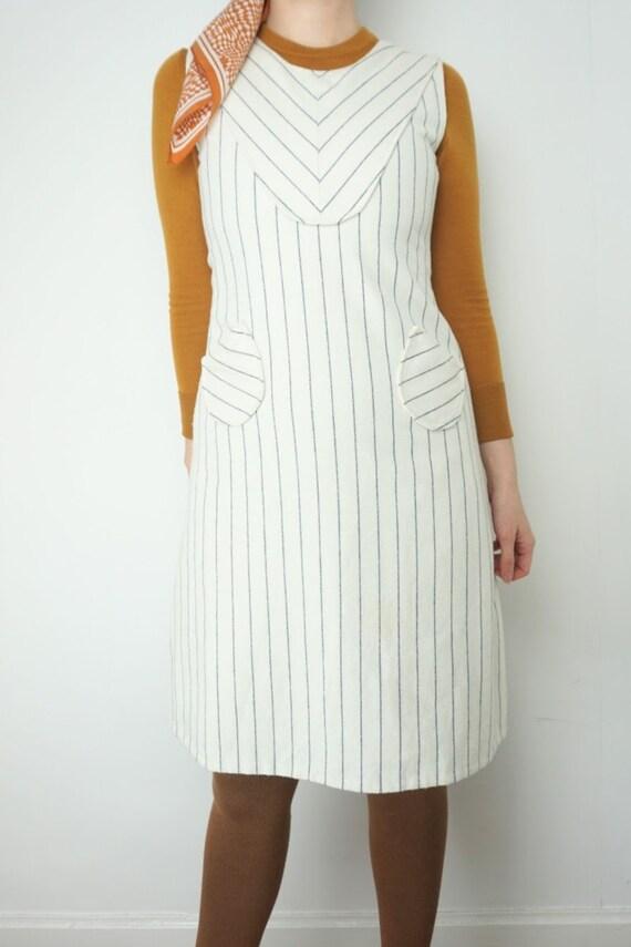 Vintage 1970s Pinstripe Pinafore Dress in Wool