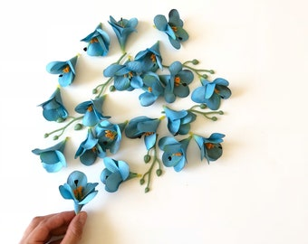 Small silk flowers etsy 20 pieces blue flower heads artificial silk flowers blueteal flower crown supply wedding bouquet tiny flowers small flowers mightylinksfo