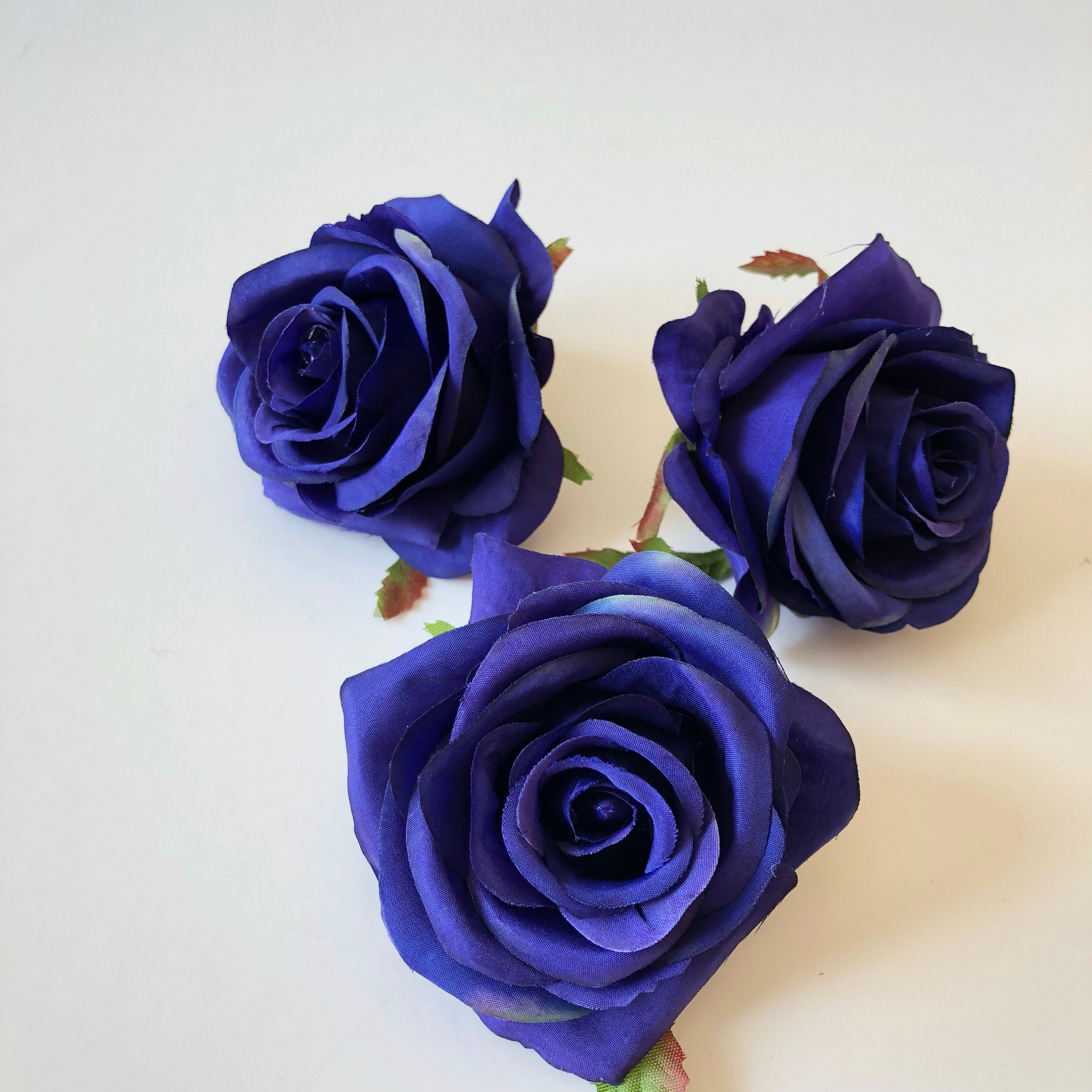 3 Pieces Navy Silk Rose Heads Artificial Roses Rose Head Etsy