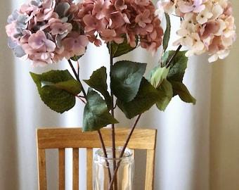 Fall mood silk hydrangea, Artificial blooming flowers, autumn feel flowers, Artificial flowers, Faux flowers, hydrangeas in a vase