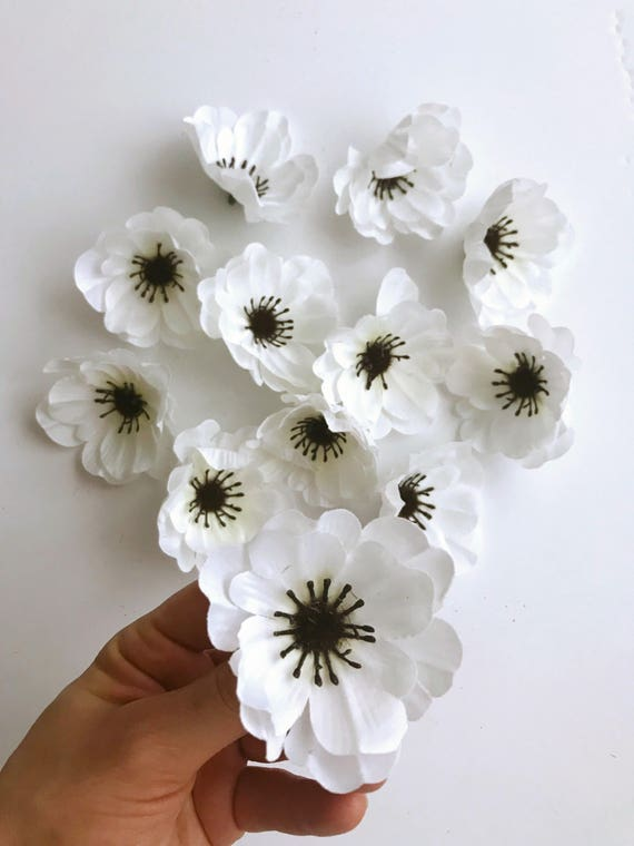 12 pieces white anemone heads artificial flowers anemones etsy image 0 mightylinksfo