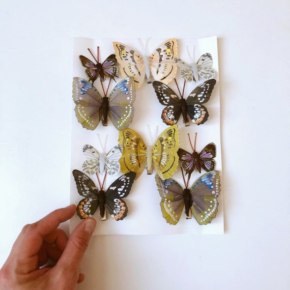 6 4cm Real Feather Butterflies Butterflys On Clip Cakes Crafts