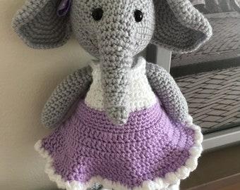 Amigurumi crochet elephant toy.