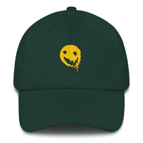Melting Smiley Face Cap Tumblr Aesthetic Trippy Grunge Etsy
