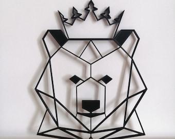 Large en Bois Ours Rose Trophée Animal Head 3D Wall art Kids Home Decor Hanging