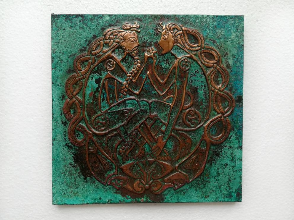 Celtic Knot Wall Art, Celtic Couple, Embossed Copper , Love Wall Art ...
