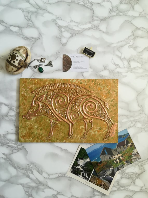 Copper Wild Boar Metal Wall Art Celtic Knot Home Decor Etsy