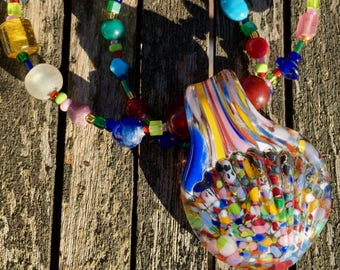 The Candy Carnival Necklace. Czech & Indian Glass Beads, Hand-blown Glass Pendant, Color, Rainbow, Fun, Whimsy, Funky, Chunky, Boho, Happy