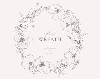 Floral Wreath, Cherry Blossom, Pencil Sketch, Line Art Flowers, Wedding Clipart, Floral Fine Art, Hand Drawn, Flower Illustration, PNG 045