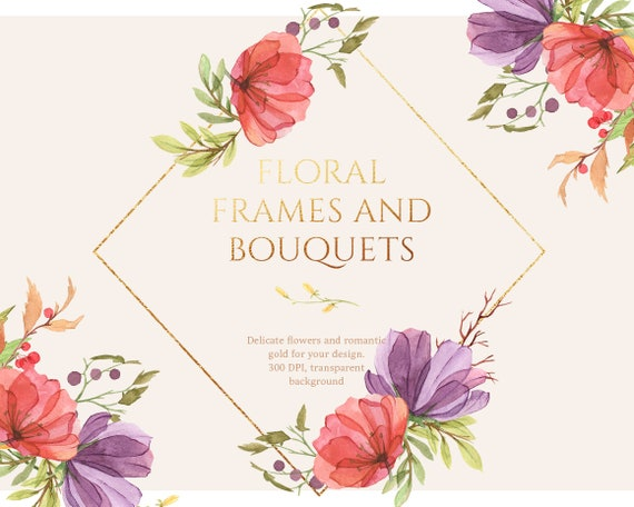 Floral Frames Gold Frame Watercolor Flower Wedding Clipart Etsy