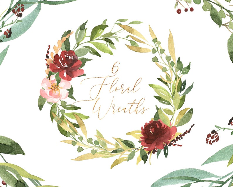 Watrecolor Floral Wreaths Christmas Wreath Wreath Clipart Etsy