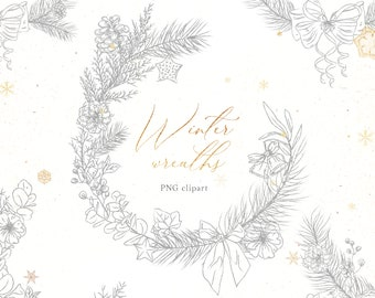 Christmas clipart, winter wreath, pencil sketched, fir branches, xmas wreaths, floral clipart, wedding clipart, png, line art wreath,holiday
