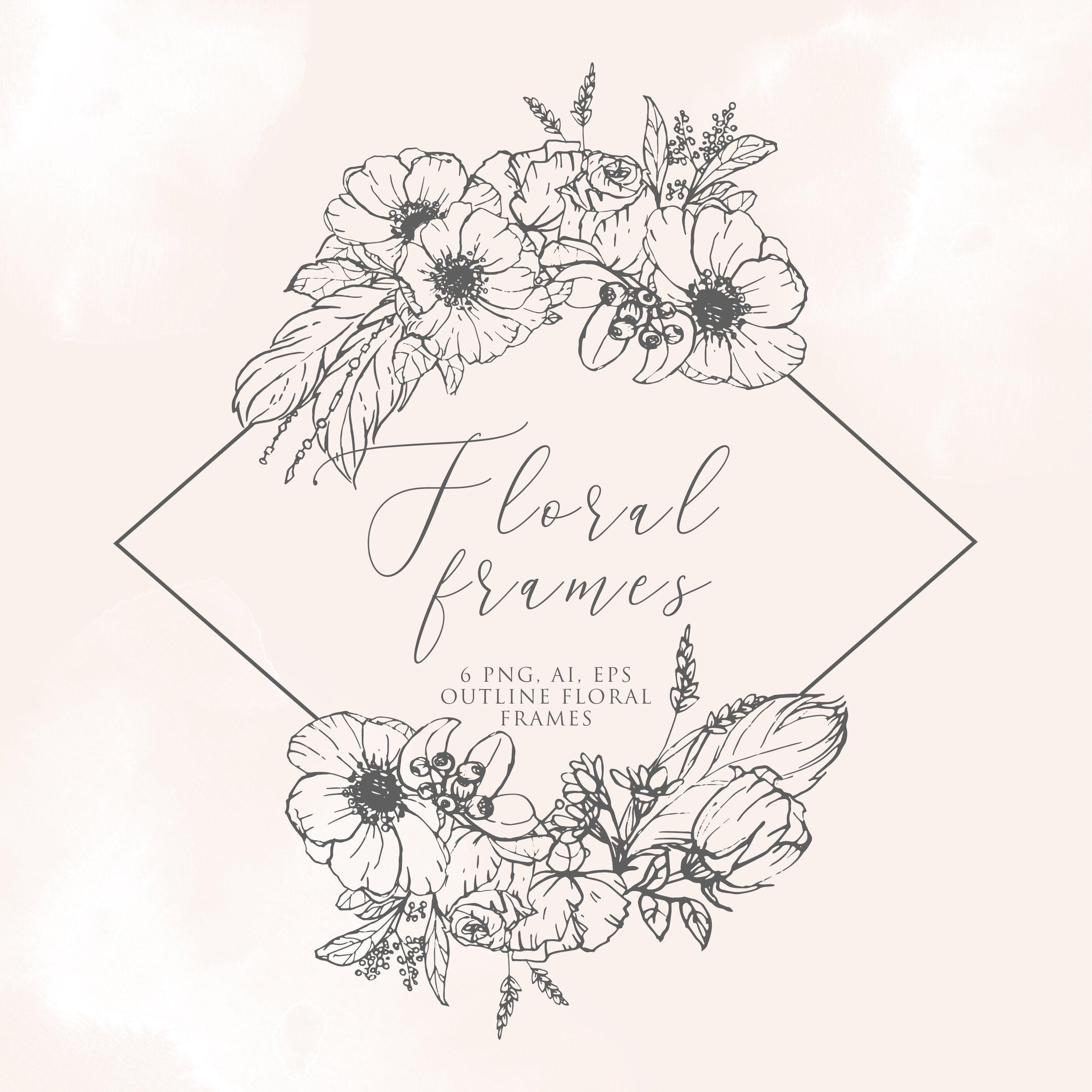 Floral Frame PNG for weddings Floral Wreath Clip Art Commercial Use logo design cute stationery /& other product creation #IMPERIAL1