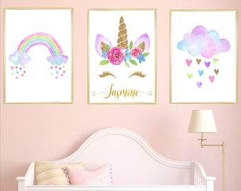 Unicorn Personalised Name Nursery Prints Set Of 3, Watercolour Pink Gold  Rainbow Cloud Baby Girl Room Decor Printable Pictures Children Gift