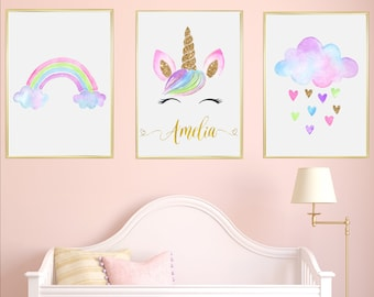 Charming Unicorn Personalised Name Nursery Prints Set Of 3, Watercolour Pink Grey  Rainbow Cloud Baby Girl Room Decor Printable Pictures Children Gift