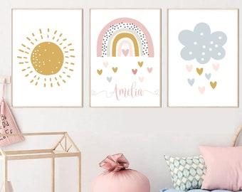 Rainy Heart Cloud Typography Print Boho Nursery Decor Neutral Housewarming Gift Nursery Wall Art Decor
