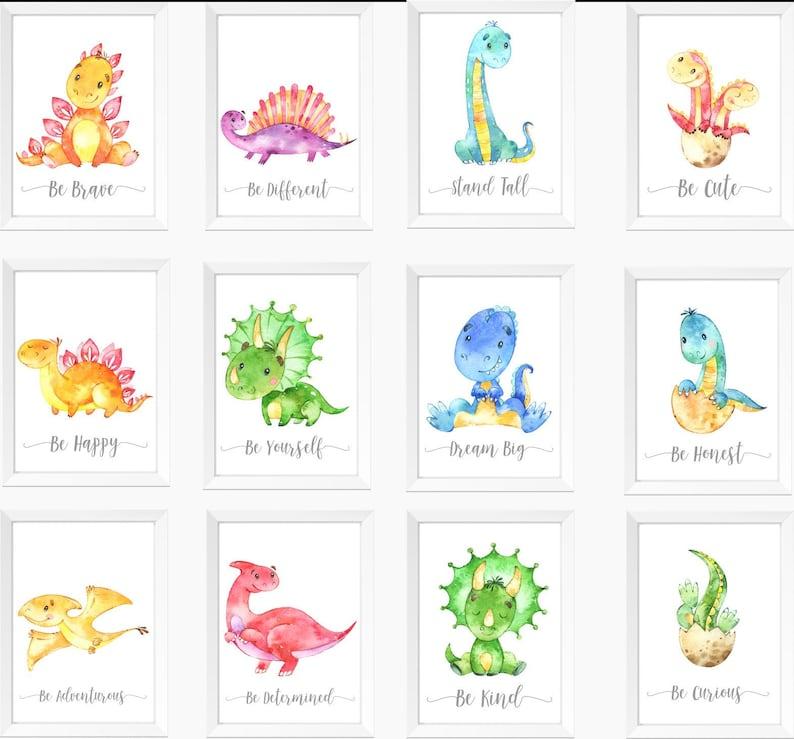 dinosaur nursery a4 gloss poster Print picture,unframed watercolour 8 UNFRAMED